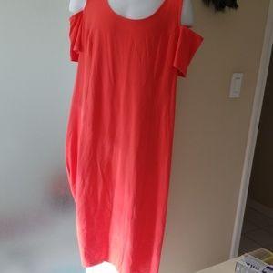 Isaac Mizrahi Coral Cold Shoulder Dress